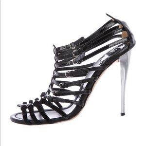 D&G Black Caged Leather Sandals w/ Silver Heels